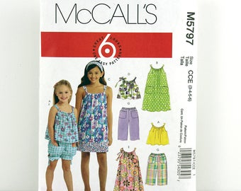 McCall's Pattern 5797, Children's Tops, Dress, Shorts, Pants, Size 3-6, Girls Play Outfits, Girls Summer Clothes Sewing Patterns, Sundress