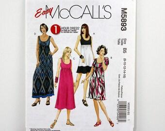 McCall's Pattern 5893, Dress, Size 8-16, 1 Hour Dress Pattern, Resort Wear, Dress Sewing Patterns, Empire Waist, Sundress, Sleeveless, Uncut