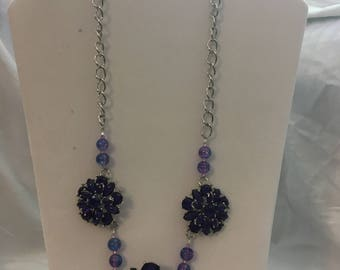 Purple and Silver Statement Necklace Set