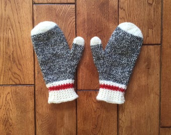 Women's Size Small-Dark Grey Sock Monkey Mitts