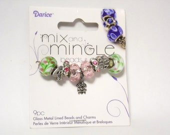 European Beads   European Charms   Large Hole Beads   Pandora Style Charms   Lampwork Beads   Pink Green   Glass Beads   Best Friends