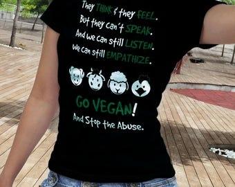 Go Vegan Shirt, Go Vegan T Shirt, Stop The Abuse Shirt, Gift for Vegan Tshirt, Vegan Clothing, Veganism Tee shirt, Veganism