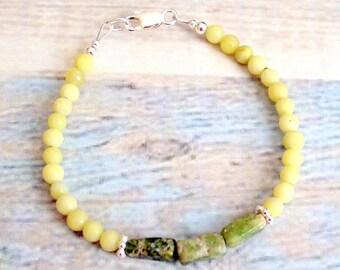 Ying Yang balance chakra healing gem bracelet Jasper olive and green serpentine natural gems stones sterling silver small farms