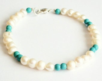 Bracelet beads natural white beads turquoise howlite gem stones silver relaxing insomnia spiritual ambition patience power
