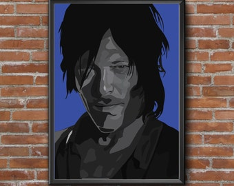 Framed Picture Daryl Dixon/The Walking Dead  A4 - 21 x 30 cm Vector Illustration Art