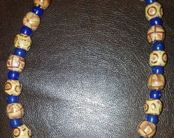 Blue and brown beaded necklace