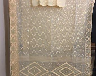 Exclusive Very light weight Cotton Dhakai Jamdani Saree.