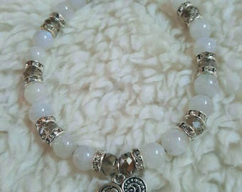 Protection/balancing AAA quality Rainbow moonstone bracelet with the charm of your choice