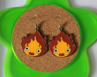 Handmade calcifer howl's moving castle dangle earrings