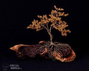 Yellow Faceted Crystal Wire Tree Sculpture On Driftwood Base