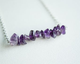 Amethyst chip necklace sterling silver