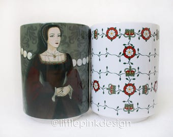 Set two ceramic cup Anne Boleyn and Tudor rose
