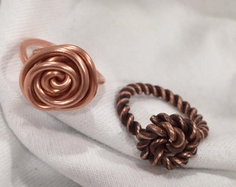 Hand-made Copper Metal Flower/Sailors Knot Ring
