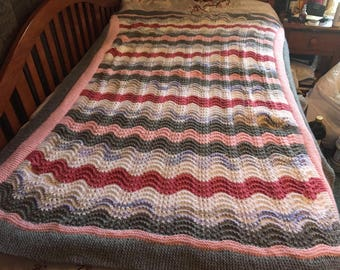 Handmade knitted afghan throw