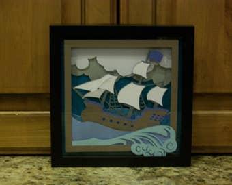3D Framed Ship Wall Art