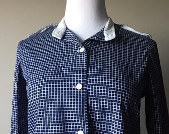 blue checked button up shirt