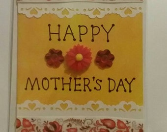 Bespoke handmade MOTHERS DAY card. Blank inside to write your own message. A6 size lace paper, ribbon flower embellishments on Orange tones