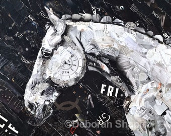 Black and White Horse Collage Giclee Print
