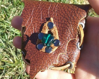 SALE Fantasy Leather Pouch Necklace