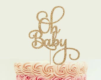 Oh Baby Cake Topper for Baby Shower, Gender Reveal Party, Birthday Party - Gold Glitter Cupcake and Cake Topper