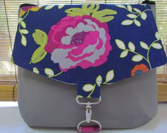 Small Grey/Blue Floral Corduroy Crossbody, Messenger, Shoulder Bag,  Purse