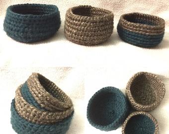 Set of 3 Crochet Bird / Squirrel Nests - Nest Decor