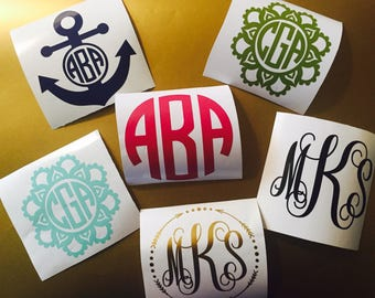 Monogram decal / Monogram sticker / Monogram car decal / Monogram car sticker / Monogram decal for yeti / Custom monogram / Vinyl monogram