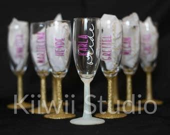 Bridesmaid Champagne Glasses, Glitter Stem Flutes, Toasting Glasses, Personalized Bridal Glass