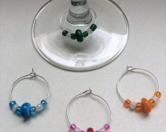 Stone Glass Wine Charms