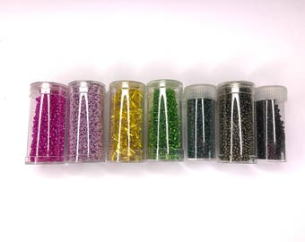 Big Bundle of Glass Bugle Beads and Glass Rocaille Beads - Glass Seed Beads