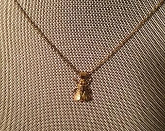 14k gold filled fly necklace