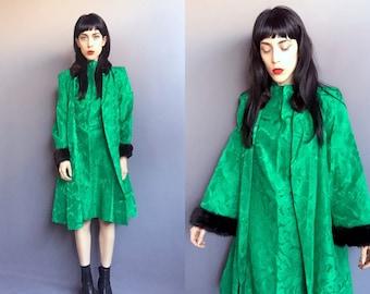 Vtg 40s Emerald Green Two-Piece Mink Trim Dress & Coat Set SZ Medium