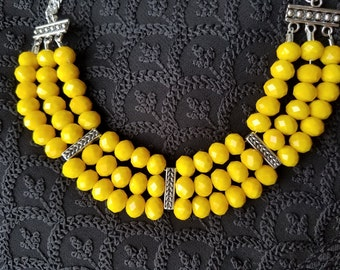 3 Strand Necklace In Yellow