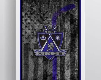 Los Angeles Kings Hockey Flag Poster, LA Kings Flag Art, Los Angeles Kings in Front of the American Flag, Los Angeles Kings Man Cave Art