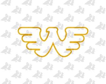 Flying W Outline Waylon Jennings Logo Single Color Decal Sticker