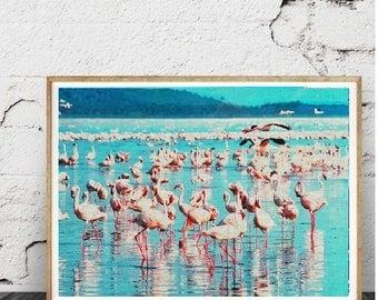 Impression murale tropical Art déco, les flamants roses, volée d'oiseaux, photographie couleur moderne, rose et bleu, Pastel de l'eau,