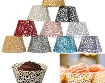 Laser Cut Cupcake Wrappers Wraps Cases Wedding Birthday Cake Vine & Filigree party celebration venue gift pack decoration boy girl babyshowe