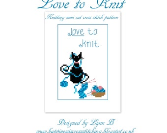 Love To Knit Mini Cat digital pdf Cross Stitch Pattern, cross stitch designs, cross stitch, cross stitch chart, cat cross stitch pattern