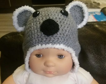 White and grey baby girl Hat
