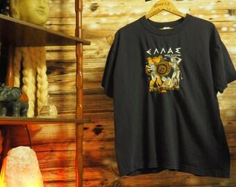 Vintage Embroidered Greek Mythology T-Shirt - Size L