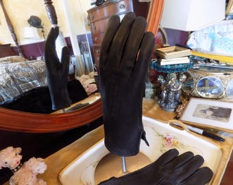 Beautiful black leather woman's driving gloves