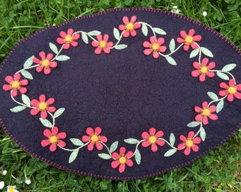 Penny Rug, Wool Felt Candle mat, Scattered Flowers, Wool felt,  table topper, table decor, penny rug table topper, READY TO SHIP