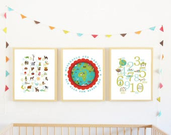 Swedish Alphabet and Global Child Room Collection, Set of 3 Prints, Educational art, 123 number poster, ABC alphabet, alphabet and numbers