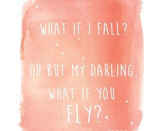 What If You Fly Inspirational Art Print, 8x10, 11x14, Nursery Wall Art, Kid's Art Decor, Children's Room, Gender Neutral