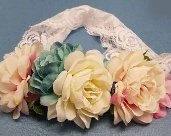 Garden Flower And Dusty Rose Baby and Adult For special day Prom   Headband -0041