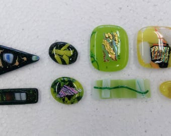 Green and Yellow fused glass pieces