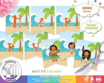 Moana Birthday Banner, Printable MoanaBirthday party decorations, Vaiana,  Party supplies INSTANT DOWNLOAD