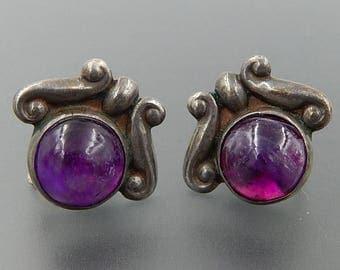Los Castillo Taxco sterling silver amethyst cabochon screw back earrings