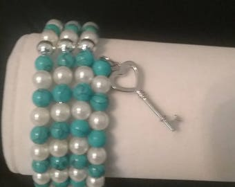 Turquoise White Pearl and Silver Memory Wire Braclet with Charm