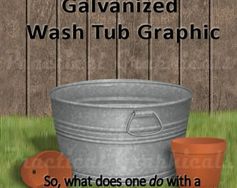 Galvanized Wash Tub Graphic, PNG with Transparent Background - 2 sizes included as Instant Download.